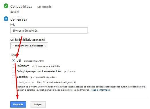 Cél beállítása Google Analyticsben 2
