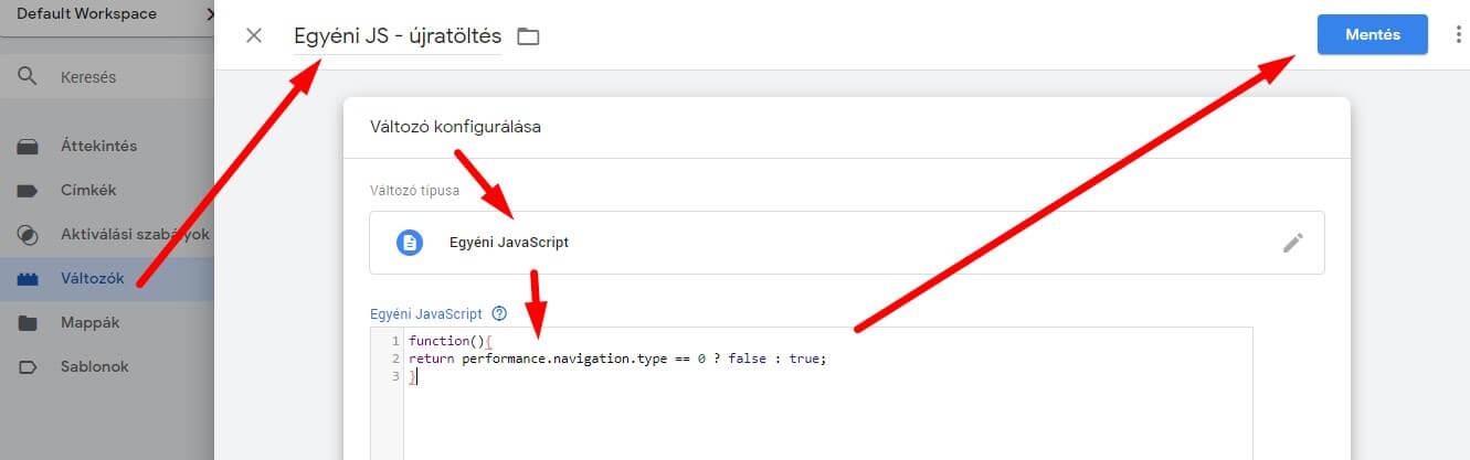 Egyéni Javascript változó létrehozása Google Tag Managerben