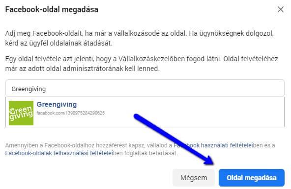 Facebook oldal kiválasztása Business Managerben