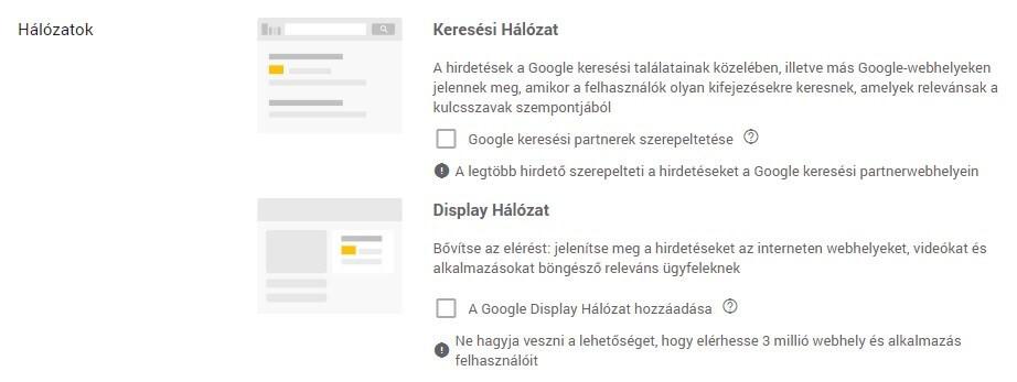 Hálózatok a Google Adsben