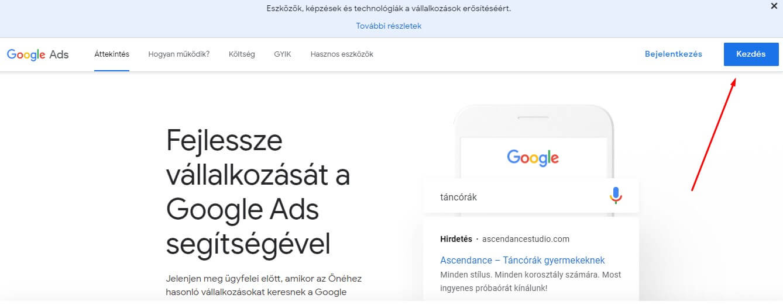 Google Ads kezdés