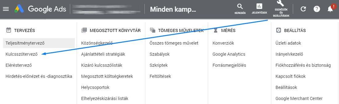 Google Ads kulcsszótervező elérése