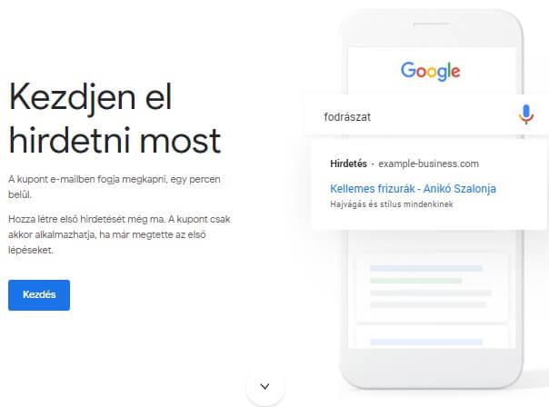Google Ads kupon regisztráció