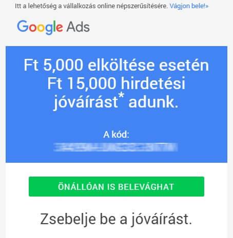 Google Ads promóciós kód