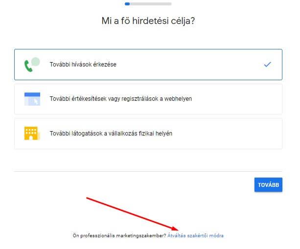 Google Ads szakértői mód