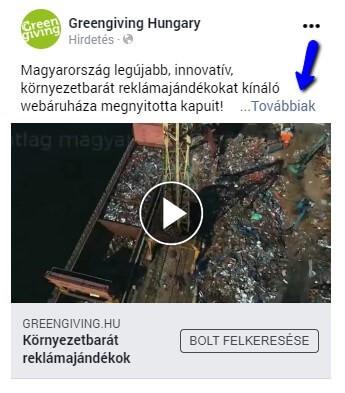 Greengiving Facebook hirdetés példa