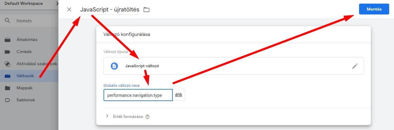 Javascript változó létrehozása Google Tag Managerben