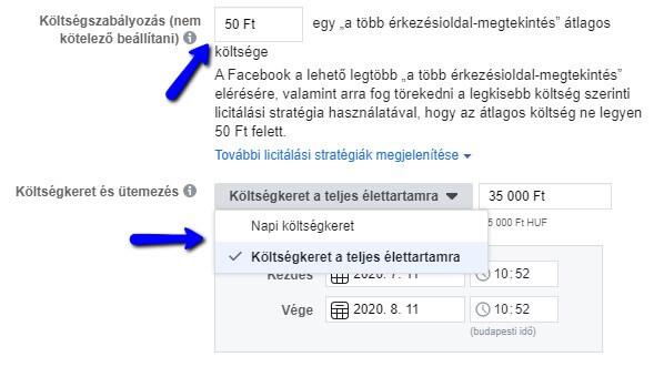 Költségkeret szabályozása a Facebookon