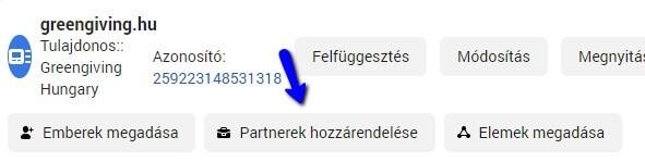 Partner hozzárendelése hirdetési fiókhoz