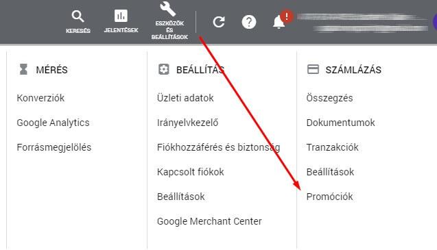 Promóciók kezelése a Google Ads fiókban