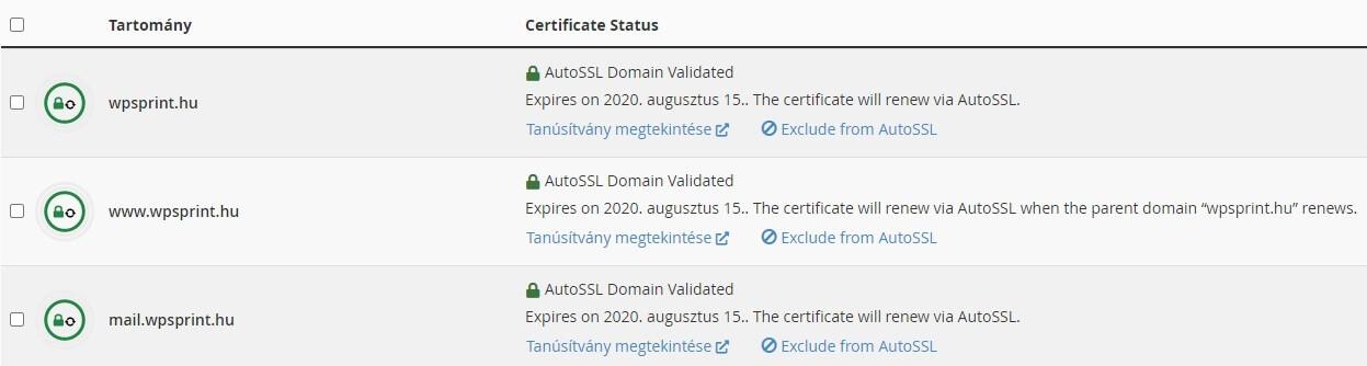 SSL beállítás Cpanel felületen - 3