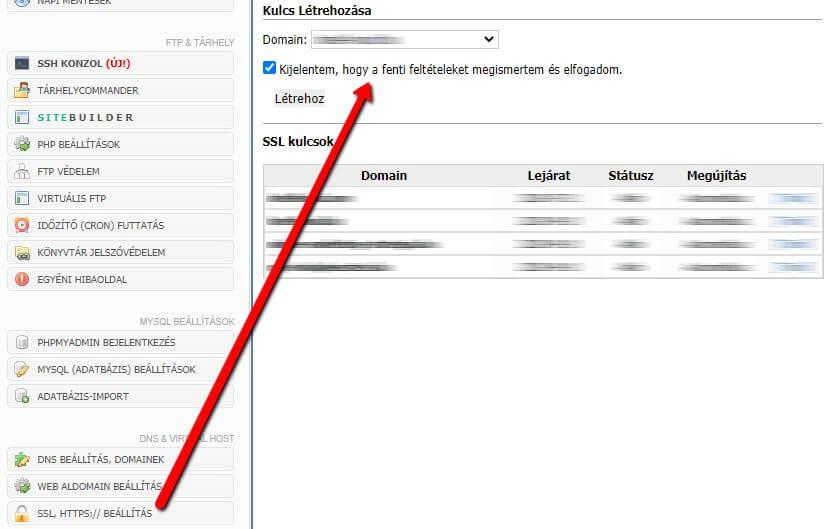 SSL beállítása a Médiacenter felületén